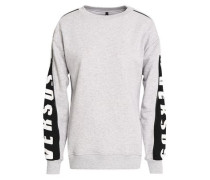 Zip-detailed Printed French Cotton-terry Sweatshirt Light Gray