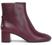 Bow-detailed leather ankle boots