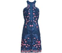 Floral-appliquéd guipure lace dress