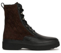 Woman Quilted Suede And Leather Ankle Boots Chocolate