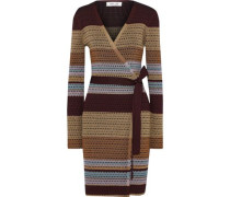 Metallic Striped Crochet-knit Wrap Dress Beige