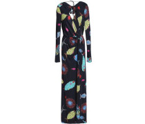 Knotted printed stretch-jersey gown