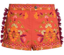 Tasseled embroidered cotton-piqué shorts
