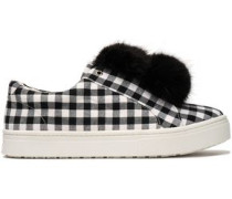 Faux fur-trimmed gingham canvas slip-on sneakers
