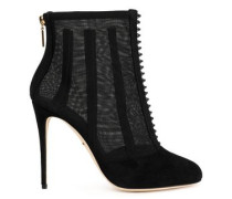 Paneled suede and tulle ankle boots