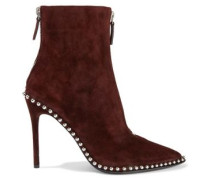 Eri Studded Suede Ankle Boots Burgundy