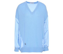 Satin-paneled Cashmere And Wool-bend Sweater Sky Blue