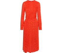 Knotted Fil Coupé Georgette Midi Dress Tomato Red