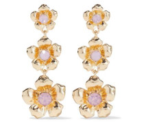 Woman Gold-plated Crystal-embellished Earrings Baby Pink