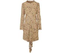 Woman Embellished Draped Floral-print Georgette Mini Dress Beige