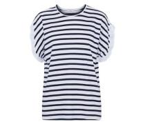Poplin-trimmed striped cotton-jersey T-shirt