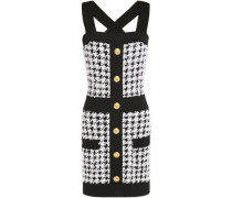 Woman Button-embellished Houndstooth Bouclé-tweed Mini Dress Black