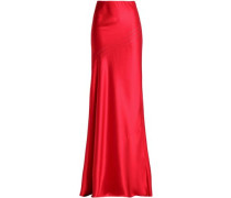 Open knit-trimmed fluted silk-satin maxi skirt