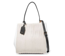 Striped cotton canvas and leather shoulder bag