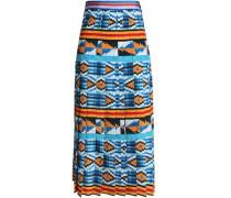 Pleated printed crepe de chine midi skirt