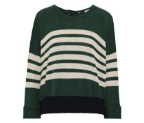 Cutout Striped Cotton Sweater Forest Green