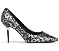 Embellished Patent-leather Pumps Silver