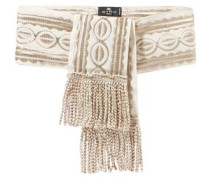 Fringed Embroidered Grosgrain Waist Belt Ecru