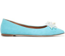 Woman Lucrezia 05 Crystal-embellished Suede Point-toe Flats Turquoise