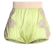 Lace appliquéd silk-satin shorts