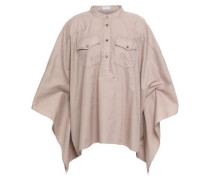 Cape-effect Bead-embellished Cotton-poplin Top Neutral