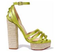 Eyelet-embellished Satin Espadrille Platform Sandals Chartreuse