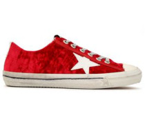 Woman Leather-trimmed Crushed-velvet Sneakers Red