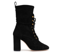 Lace-up Stretch-suede Ankle Boots Black