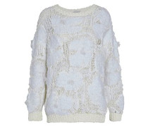 Frayed coated open-knit sweater