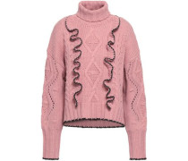 Ruffle-trimmed Cable-knit Turtleneck Sweater Antique Rose