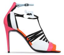 Suede-trimmed color-block leather sandals