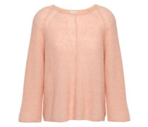Mélange Ribbed-knit Sweater Peach