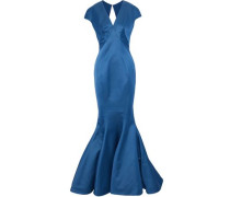 Fluted cutout satin gown