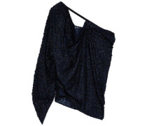 Kara One-shoulder Metallic Fil Coupé Chiffon Top Midnight Blue