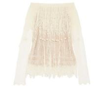 Off-the-shoulder pompom-embellished silk-lace top