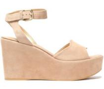 Suede platform wedge sandals