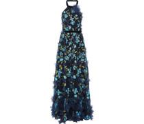 Floral-appliquéd Embroidered Tulle Halterneck Gown Navy