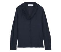 Ruffle-trimmed Washed-silk Blouse Navy