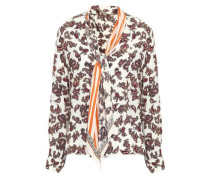 Printed Pussy-bow Silk Crepe De Chine Shirt Off-white
