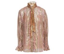 Tie-neck Metallic Striped Silk-blend Chiffon Blouse Rose Gold