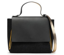 Zip-detailed leather-paneled felt shoulder bag