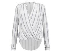 Wrap-effect Brushed Striped Jersey Top Weiß