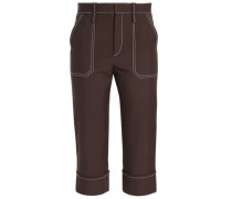 Cropped Woven Tapered Pants Brown