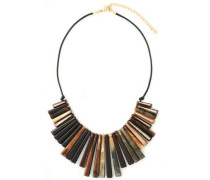 Gold-tone, tortoiseshell resin and braided leather necklace