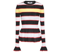 Woman Ruffle-trimmed Striped Ribbed-knit Peplum Sweater Black