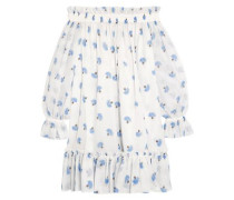 Off-the-shoulder Floral-print Cotton-voile Mini Dress White