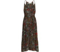 Belted Fil Coupé Floral-print Silk-blend Midi Dress Black Size 0