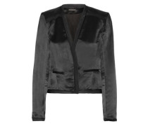 Larra Silk Chiffon-trimmed Textured-satin Blazer Black