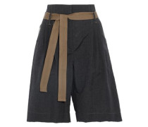 Belted wool and linen-blend shorts