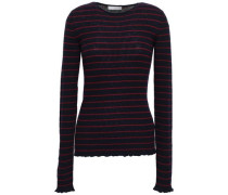 Striped Ribbed Cashmere Sweater Navy